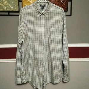 Lands' End Plaid tailored fit tall shirt size 17